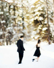 Beautiful out of focus engagement photograph of a chinese couple in Aspen, CO