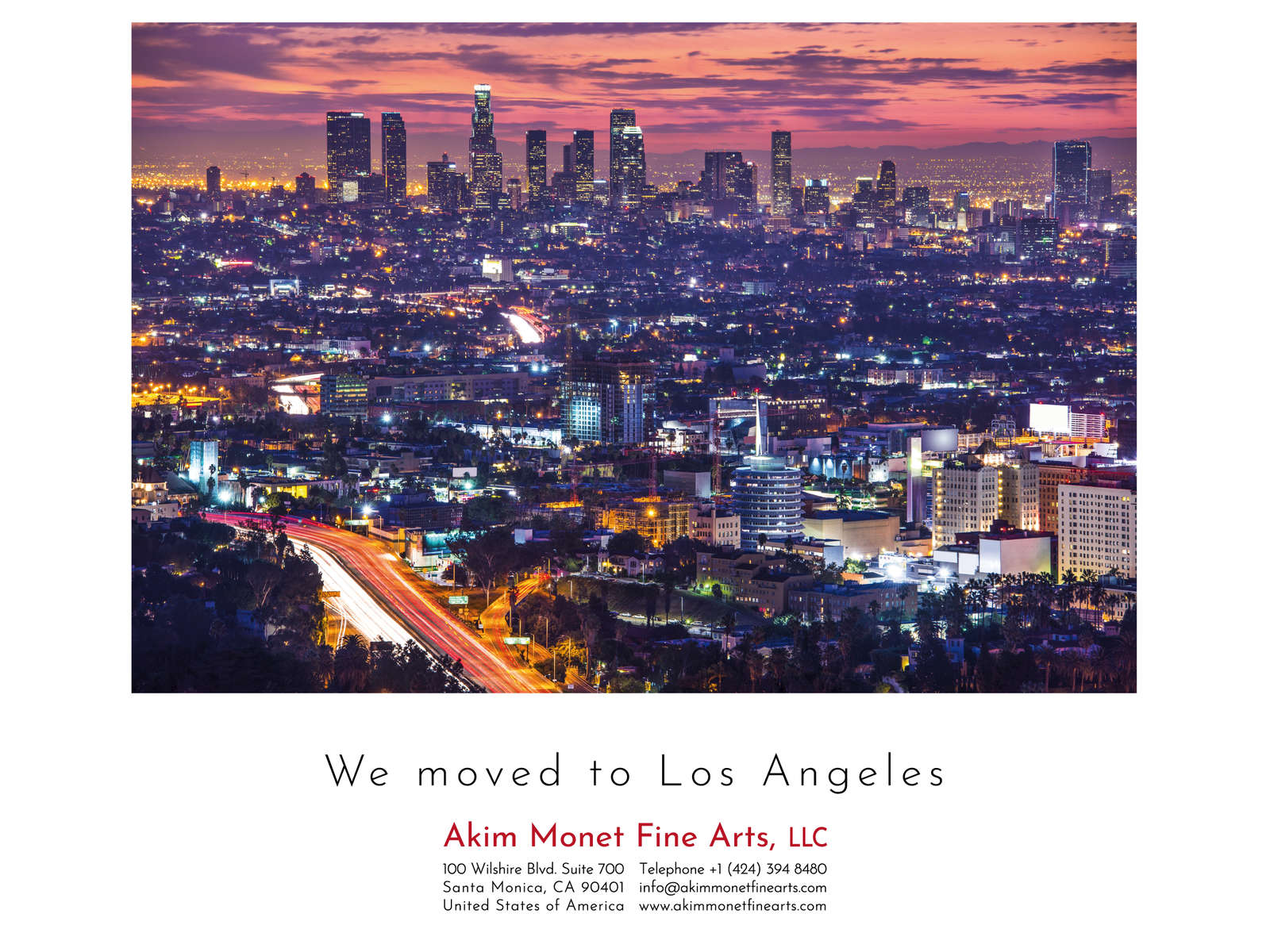 Following a decade in Berlin, we moved to Los Angeles. Please read here my letter to our faithful gallery friends.Akim Monet, Los Angeleswww.akimmonetfinearts.com