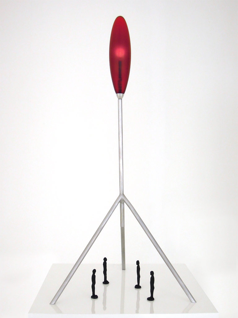 Jonathan BOROFSKY (b. 1942)Working model for a large Heartlight sculpture (12m to 18m tall). Aluminum, cast resin, diode light, audio-electronics including digitally reproduced heartbeat of the artist.  Overall size 62.5 x 27 x 27 cmRed resin lamp 19 cm4 black figurines 6.5 cm each