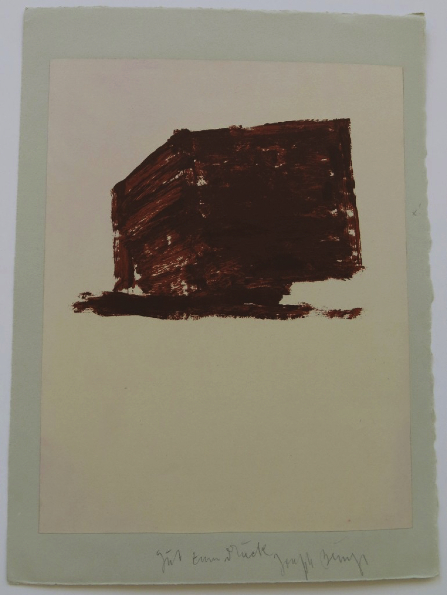 Joseph BEUYS (1921-1986)Lithograph on paper, laid down on gray Rives wove38,5 x 28,3 cmSigned lower middle, inscribed 'good to print'Inscribed on the reverse '13'Print with the artist's handwritten printing notes prior to the Edition of 75 + XXV + 10 Proofs + 24 APsSchellmann 355