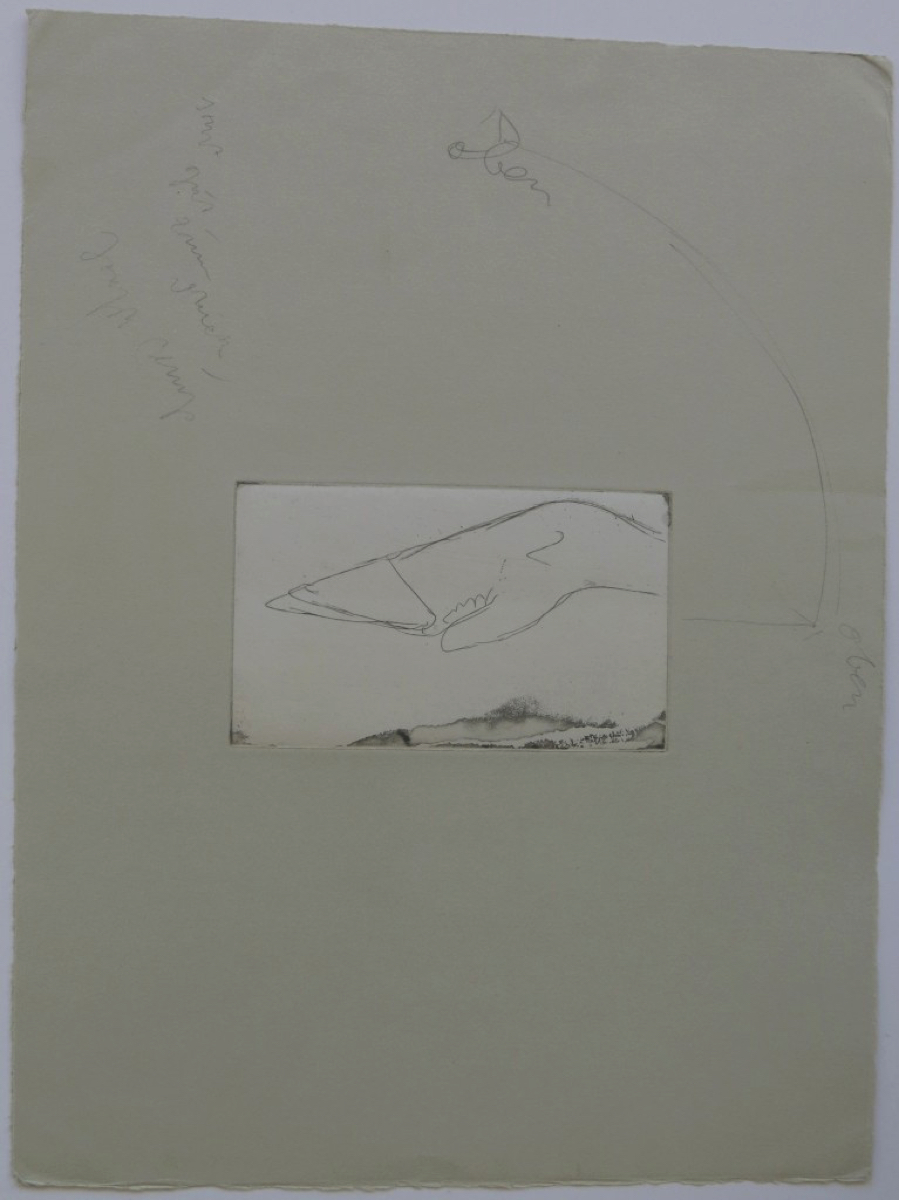 Joseph BEUYS (1921-1986)Etching on dun-colored paper, laid over gray handmade paper30 x 39,7 cmSigned upper left, twice inscribed 'up,' inscribed 'otherwise good to print'Inscribed on the reverse 'A'Print with the artist's handwritten printing notes prior to the Edition of 75 + XXV + 10 APs + a few APsSquare format in the later editions, as here penciled by the artist; present print executed as portraitSchellmann 53r