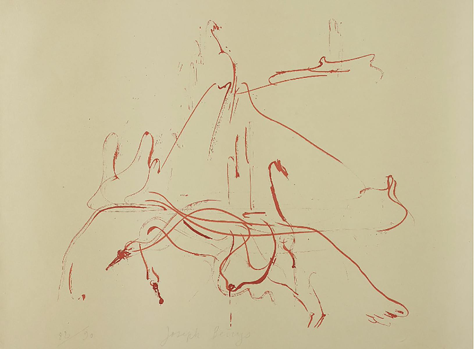 Joseph BEUYS (1921-1986)Lithograph in colors, on Rag paper, the full sheet56 x 75.9 cm Signed and numbered 82/90 in pencil(30 impressions in Roman numerals reserved for museums, +15 APs)Published by Propyläen Verlag, Berlin and Pantheon Presse, Rome
