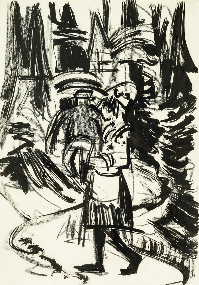 Ernst Ludwig KIRCHNER (1880 – 1938)India ink and charcoal on copperplate printing paper49,7 x 34,8 cm (19 1/2 x 13 3/4 in)Stamped on the verso with the estate stampand numbered 'P Da/Bc 16'.ProvenanceEstate of the artist