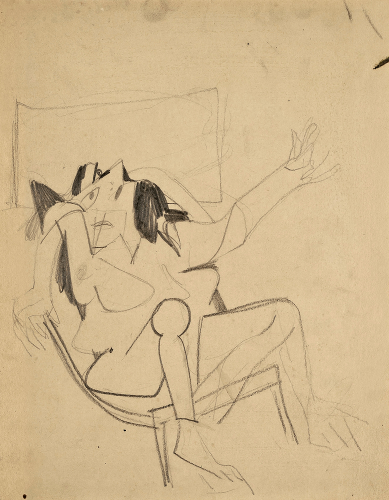"Willem DE KOONING (1904 – 1997)Pencil on cardboard28 x 24 cm (11 x 9 1/2 in.)With a letter by Mr. Michael Luyckx, the nephew of Elaine de Kooning who was the executor of the Estate of Elaine de Kooning, confirming that the work was sold directly by the Estate.ProvenanceElaine De KooningPrivate collection (Acquired from the estate of the above)This work was created in preparation for de Kooning's first solo exhibition at the Charles Egan Gallery in New York in 1948, which established his reputation in the New York art scene virtually overnight.Clement Greenberg discovered him there, describing him in 'The Nation' as ""one of the four or five most important painters in the country"". The paintings de Kooning showed at the exhibition verged on abstraction, consisting of black and white biomorphic forms. If those works are compared to ""Study for Seated Woman"", it becomes clear that the idea of 'woman', although depicted in an almost unrecognizably fragmented form, was already the subject of those early de Kooning paintings."