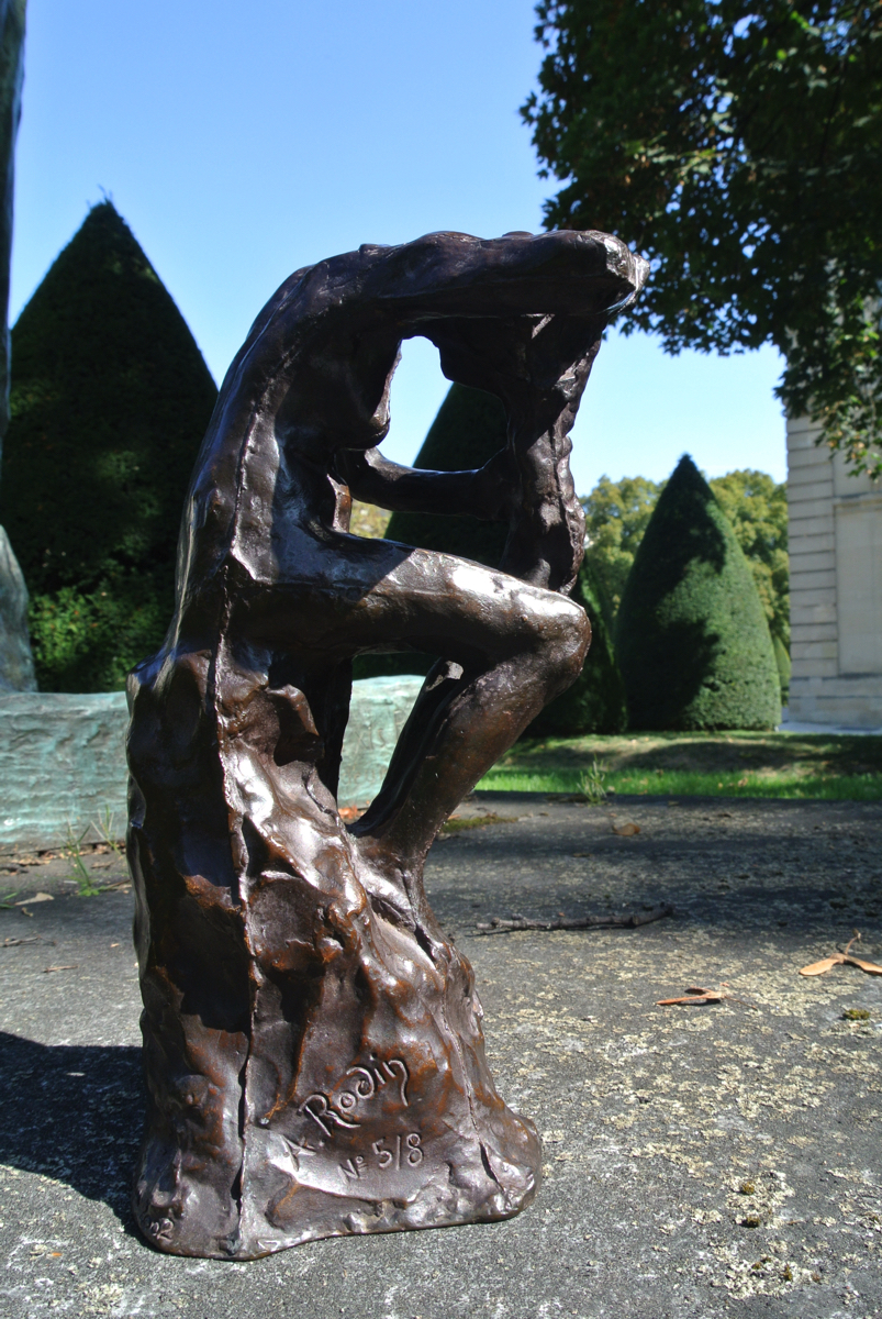 Auguste RODIN (1840-1917)Bronze 24 x 14,5 x 13,7 cmCast in 2002 by Fonte GodardInscribed A. Rodin, © by Musée Rodin and numbered 5/8, one of the eight examples numbered in Arabic numerals, dated and stamped with foundry mark PROVENANCEMusée Rodin, ParisAUTHENTICATIONA certificate of authenticity, signed by the Director of the Musée Rodin, is given to every purchaser of an original bronze by Auguste Rodin.NOTESThis small bronze, cast from a plaster original with very visible seams, probably represents the first phase of a work that was subsequently detached from the tall pedestal it had been placed on. Once removed, the figure was used on its own in many different ways, for example positioned against a plaster panel or attached to the neck of a small alabaster amphora. Combined with two other figures it became the starting point for a larger group, Jeune fille entre deux génies, or Les mauvais Génies, also exhibited in 1900. Its composition bears witness to the research Rodin had been carrying out on the geometrical structure of the human body; it perfectly illustrates the commentaries, published by Camille Mauclair in 1905, in which Rodin observes: {quote}My art arises out of architecture and geometry. A body is a building and a polyhedron.{quote}