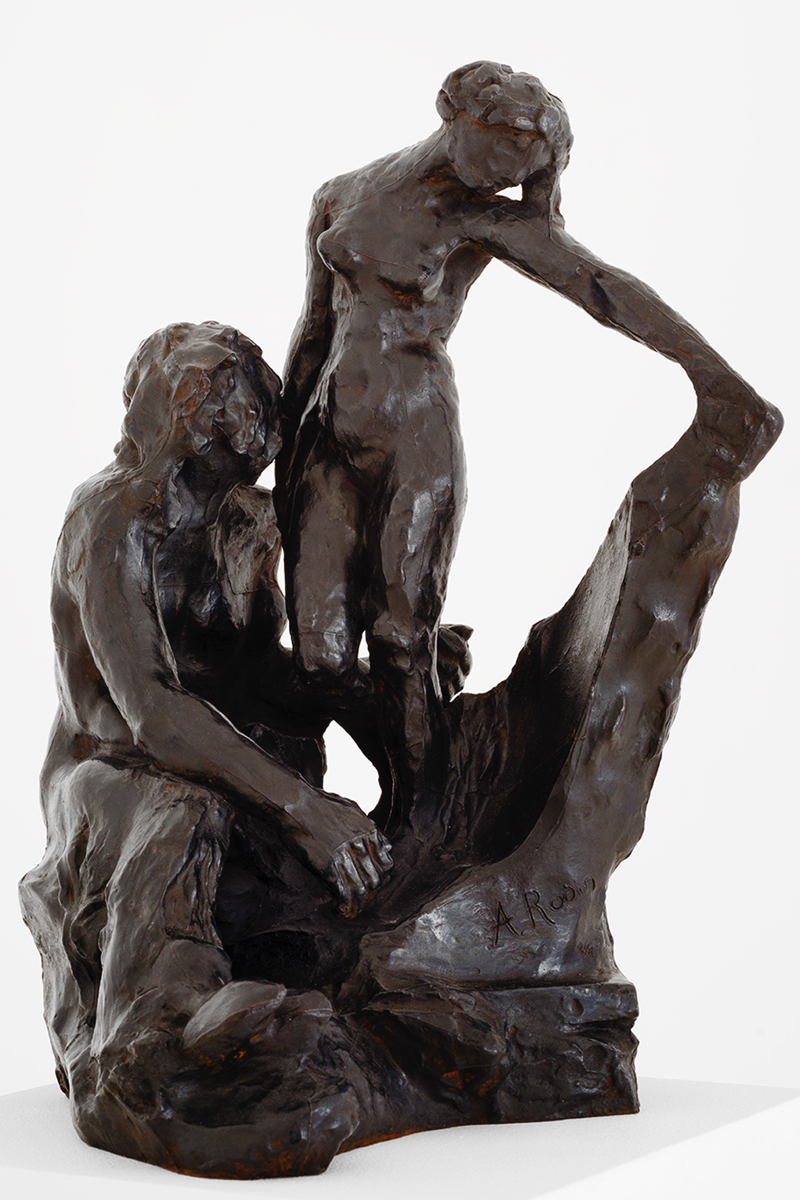 Auguste RODIN (1840-1917)Bronze 42,1 x 27 x 31 cmCast in 2015 by Fonderie de Coubertin, ParisInscribed A. Rodin, © by Musée Rodin and numbered, one of the eight examples numbered in Arabic numerals, dated and stamped with foundry mark PROVENANCEMusée Rodin, ParisAUTHENTICATIONA certificate of authenticity, signed by the Director of the Musée Rodin, is given to every purchaser of an original bronze by Auguste Rodin.This work will be included in the forthcoming Auguste Rodin catalogue critique de l'oeuvre scultpé currently being prepared by the Comité Auguste Rodin at Galerie Brame et Lorenceau under the direction of Jérôme Le Blay. NOTESWe are indebted to the Musée Rodin for the following: The subject of this bronze is taken from Ovid's Metamorphoses. When Vulcan sculpts the first woman, Pygmalion falls in love with the statue the god is creating and begs Aphrodite to transform it into a living woman.  Rodin explained to Paul Gsell that the starting point for this group was Le Minotaure (around 1886). Having decided at some unknown date to assemble a study of a woman and the faun from Le Minotaure, he began by removing the faun's left leg to leave enough space for the female figure. He then removed the faun's horns and altered the position of the arms. The next stage was carried out during the first execution in marble, when the faun's cloven hoof was transformed into a human foot. Finally, in the course of its second execution in marble, the body of Galatea took on the appearance of a partly completed sculpture, with the legs merely roughed out. Rodin represented himself as a creator deity via this symbolic self-portrait whose development history has, unusually, been preserved.