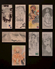 "Benito FrancoGrouping of 8 Paños Envelopes*Framed size:  104,5 x 74,5 cmGraphite, colored pencil, pen and ink on stamped, franked envelopes1.  Lady with hat, approx. 24,2 x 10,5 cm (95 x 41 inches)2.  Inscribed ""Dreaming of you"", approx. 24,2 x 10,5 cm (95 x 41 inches)3.  Inscribed ""Low Rider"", approx. 24,2 x 10,5 cm (95 x 41 inches)4.  Lady with sombrero and rose, approx. 24,2 x 10,5 cm (95 x 41 inches)5.  Female nude, approx. 24,2 x 10,5 cm (95 x 41 inches)6.  Matchu Pitchu, approx. 24,2 x 10,5 cm (95 x 41 inches)7.  Lady with hat and cross, approx. 24,2 x 10,5 cm (95 x 41 inches)8.  Erotic Indian couple, approx. 18,5 x 12,5 cm (73 x 49 inches)*Chicano inmates use hand-decorated envelopes in color or black and white to mail letters and paños (prisoner folk art made on a handkerchief). Demand for these envelopes can provide a profitable business for a convict skilled in drawing.Please click here for a comprehensive essay on paños by Martha V. Henry."