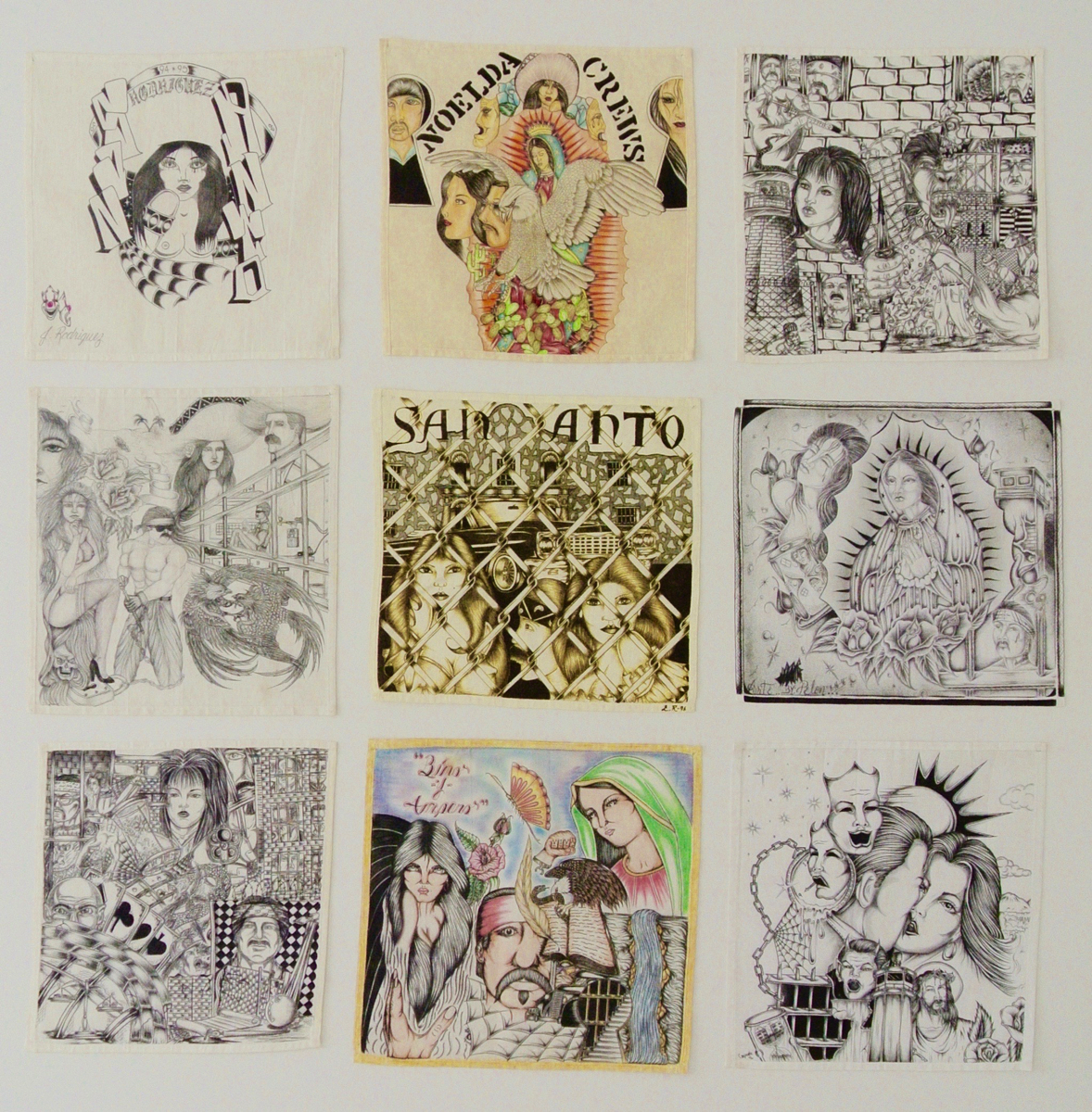 "Various unidentified Chicano inmate-artistsCollection of 9 paños*Graphite, colored pencil, pen and ink on cloth handkerchiefEach approx. 37 x 37 cm (14,5 x 14,5 inches)Framed size:  191,5 x 146,5 cm*Southwestern United States prisoner folk art made by mainly illiterate Hispanic detainees on a prison-issued paño, diminutive of pañuelo (""handkerchief"" in Spanish), using inspirations and motifs from Chicano culture.Please click here for a comprehensive essay on paños by Martha V. Henry."