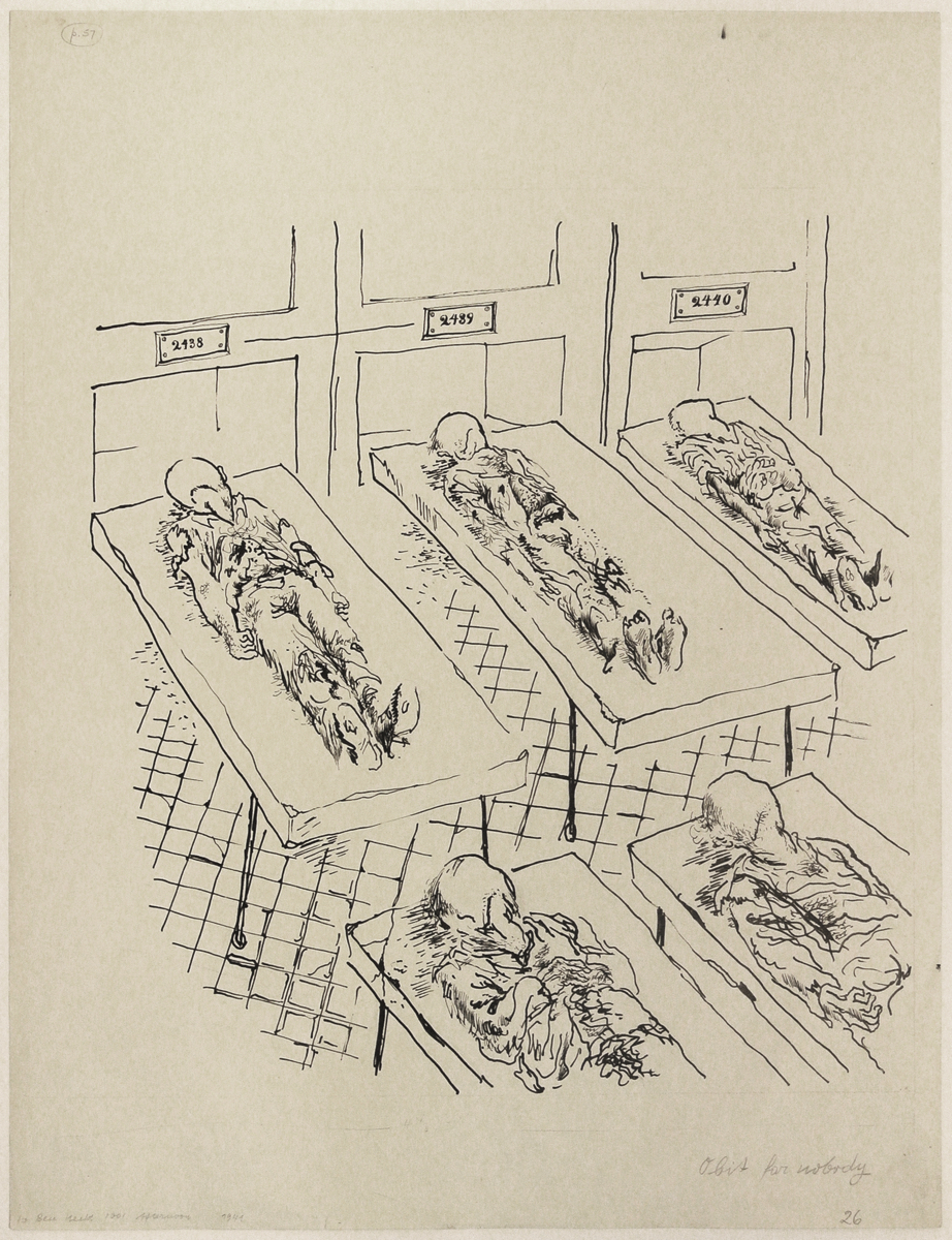 "George GROSZ (1893-1959)Reed pen and pen and ink on paper59,3 x 46 cmAnnotated lower left ""Obit for nobody/26"" lower right and ""to Ben Hecht 1001 Afternoons in New York 1941""Stamped on the reverse ""GEORGE GROSZ NACHLASS"" and numbered 4-49-10PROVENANCEThe Estate of George GroszLITERATUREBen Hecht, 1001 Afternoons in New York, illustrated p. 57, New York, 1941Juerg M. Judin (Ed.), George Grosz. Die Jahre in Amerika 1933-1958, cat.-no. 51, illustrated p. 153, Ostfildern, 2009EXHIBITIONGeorge Grosz. Berlin-New York, Tra Visioni e Reality, Academie de France a Rome, Villa Medici, Rome, 8 May – 15 July 2007George Grosz. Die Jahre in Amerika 1933-1958, Nolan Judin, Berlin, 18 February – 25 April 2009, with venue in David Nolan Gallery New York , 16 September – 31 October 2009AUTHENTICATIONThis work will be included in the forthcoming catalogue raisonné of works on paper by George Grosz in preparation by Ralph Jentsch, managing director of the George Grosz Estate."