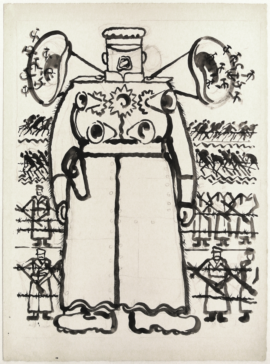 "George GROSZ (1893-1959)Brush, reed pen, and pen and ink over charcoal on paper69,7 x 52,2 cmIllustrated for Marek S. KorowicStamped on the reverse ""GEORGE GROSZ NACHLASS"" and numbered 4-81-9PROVENANCEThe Estate of George GroszAUTHENTICATIONThis work will be included in the forthcoming catalogue raisonné of works on paper by George Grosz in preparation by Ralph Jentsch, managing director of the George Grosz Estate."