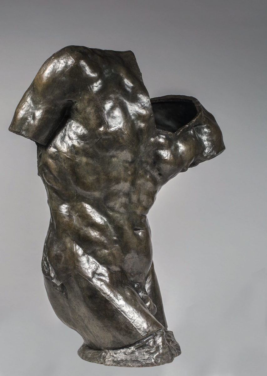 "Auguste RODIN (1840-1917)Bronze100,5 x 73 x 49 cmCast in 2015 by Susse Fondeur, ParisInscribed A. Rodin, © by Musée Rodin and numbered IV/IV, one of four examples numbered in roman numerals, dated and stamped with foundry markPROVENANCEMusée Rodin, ParisOTHER CASTS IN PUBLIC COLLECTIONSSéoul, Rodin Gallery, 2/8 cast in 1990Shizuoka, Prefectural Museum of Art, acquired in 1992, II/IV cast in 1991São Paulo, State Pinacothèque, acquired in 1995, 3/8, cast in 1991Salvador de Bahia, musée Rodin, acquired in 2002, 6/8LITERATUREAntoinette Le Normand-Romain, The bronzes of Rodin, catalogue of works in the Musée Rodin, vol. II, Paris, 1997, p. 568AUTHENTICATIONA certificate of authenticity, signed by the Director of the Musée Rodin, is given to every purchaser of an original bronze by Auguste RodinThis work will be included in the forthcoming Auguste Rodin catalogue critique de l'oeuvre sculpté currently being prepared by the Comité Auguste Rodin at Galerie Brame et Lorenceau under the direction of Jérôme Le BlayNOTESThe Shade officially appeared when Rodin chose to place at the top of The Gates of Hell three identical figures that were cast from the same mold and assembled on a system of repetitive juxtaposition.  According to Camille Mauclair, these figures represent the recently deceased who stoop in terror as they discover the crowd of damned into which they are about to be thrown.In Dante's poem (the Divine Comedy is the major source of reference for The Gates of Hell), the Three Shades warn the newly arrived with this terrible sentence: {quote}Lasciate ogni speranza, voi ch'entrate{quote}, most frequently translated as {quote}Abandon all hope, ye who enter here.{quote}A few days after the opening of the 1900 exhibition at the Pavillon de l'Alma, the group, which was first exhibited at the foot of The Gates of Hell, returned to the top of the composition, of which it constitutes the indispensable crowning.The Shade was enlarged in 1901 by Henri Lebossé who took ""exceptional"" care in his work, as he perceived the figure to be ""perhaps the most important piece of sculpture of [Rodin's] career"" (quoted in Antoinette Le Normand-Romain, The Bronzes of Rodin: Catalogue of Works in the Musée Rodin, Paris, 2007, vol. II, p. 570). By isolating a fragment of the figure, Torse de l'Ombre throws a new light on the striking pose of Les Ombres, recalling the venerated ruins of Greek and Roman antiquity. In its contrived, twisted pose, Torse de l'Ombre specifically resonates with the Torse du Belvedère, hinting at Rodin's challenging relationship with the great tradition of classical sculpture.The Shades gave birth to autonomous sculptures.  Through its movement, the Torso of the Large Shade somehow announces in a metonymical manner the global axis of the sculpture, agitated in a painful contraposto.  Even as it references the antique fragment so dear to Rodin, it is clearly the influence of Michelangelo that is materialized in this subject."