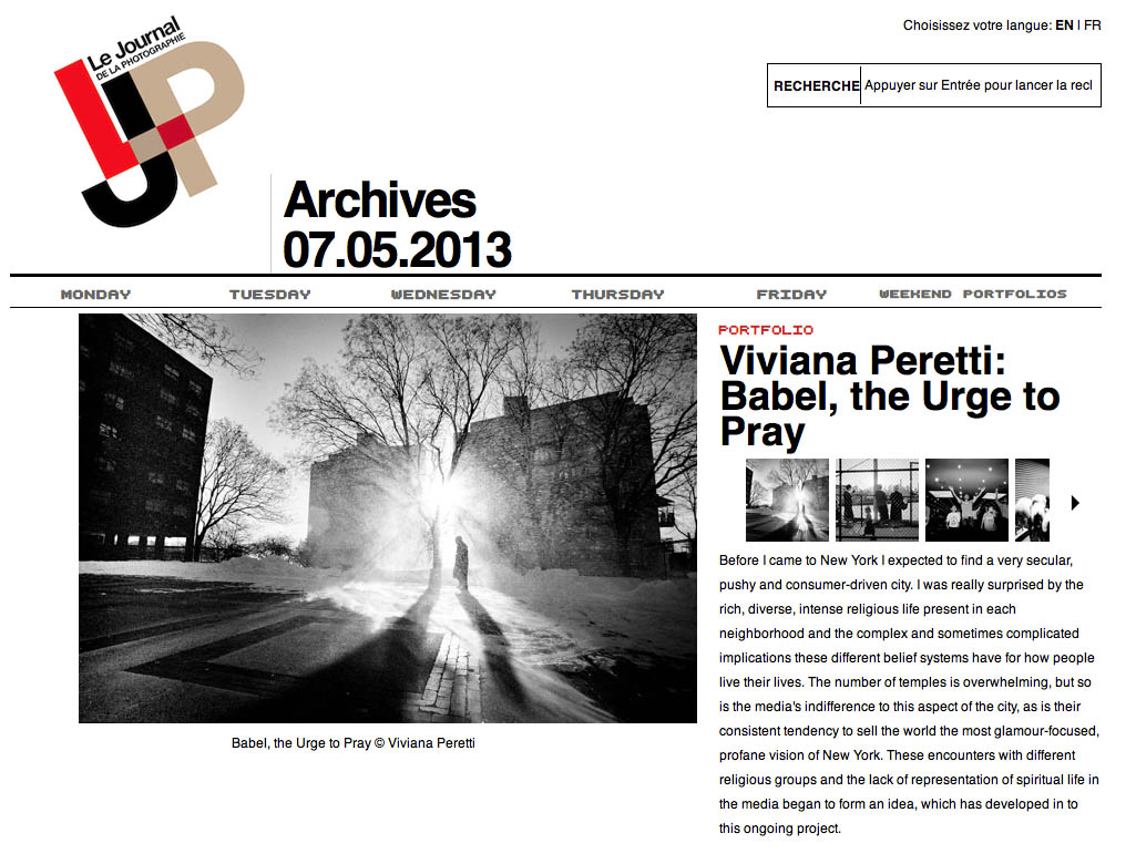 My four-years long project 'Babel, the Urge to Pray' about religious communities in New York, featured on LE JOURNAL DE LA PHOTOGRAPHIE on May 2013.