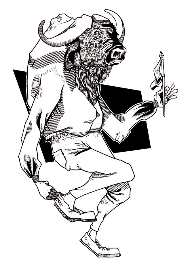 A black and white drawing of a bison wearing a hoodie and pants, holding a flag in one hand while fixing his shoe with the other hand.