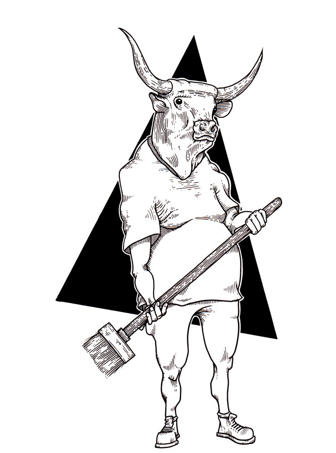A black and white drawing of a longhorn bull in a t-shirt, pants, and work shoes holding a broom.