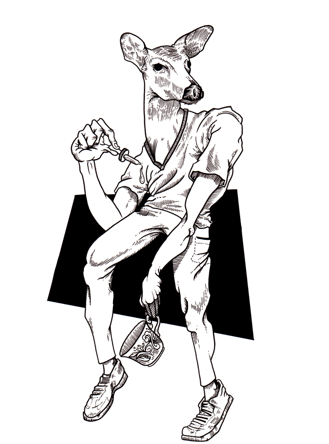 A black and white drawing of a deer wearing a v-neck shirt, pants and shoes, with a droplet in one hand and a tea cup in the other.