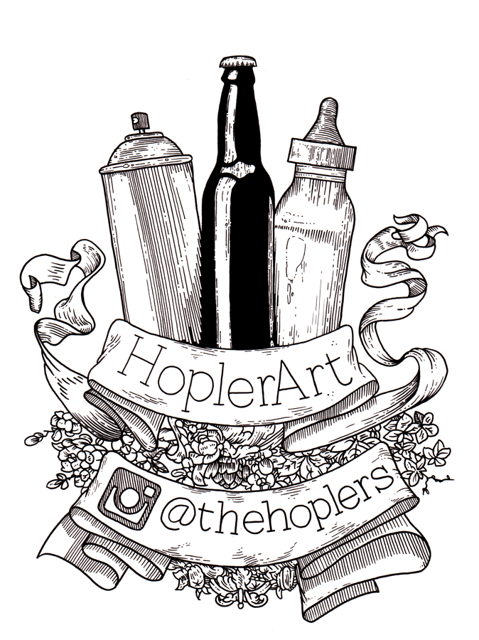 spray paint bottle, beer bottle, baby bottle with a banner that says, {quote}HoplerArt{quote} and {quote}@thehoplers{quote}