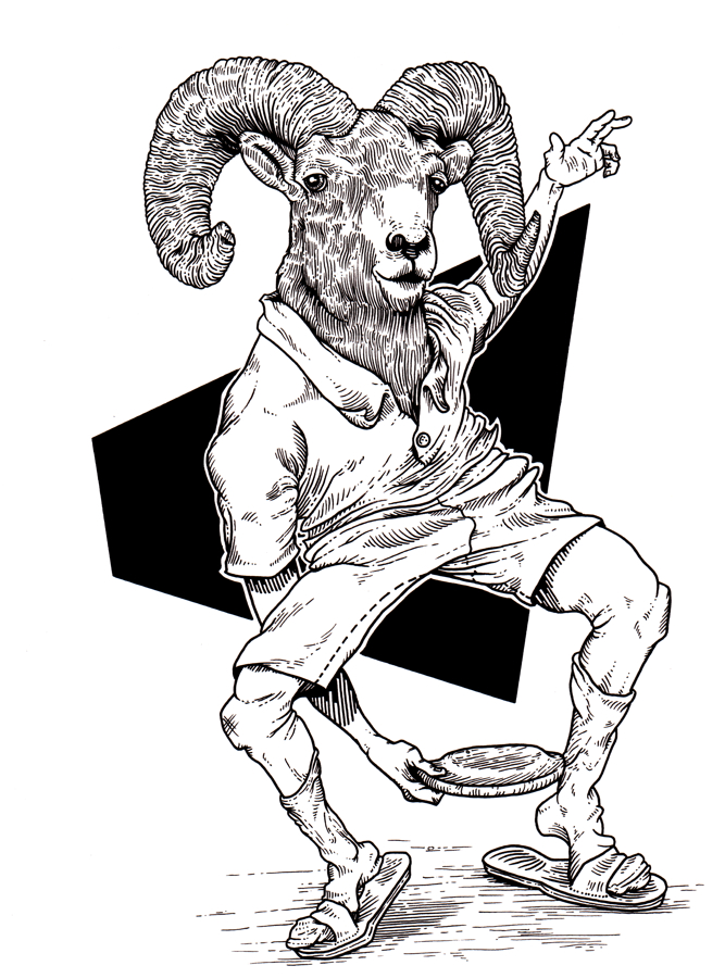 A black and white drawing of a ram wearing a polo shirt, shorts, and socks with sandals. The ram is throwing a frisbee between his legs.