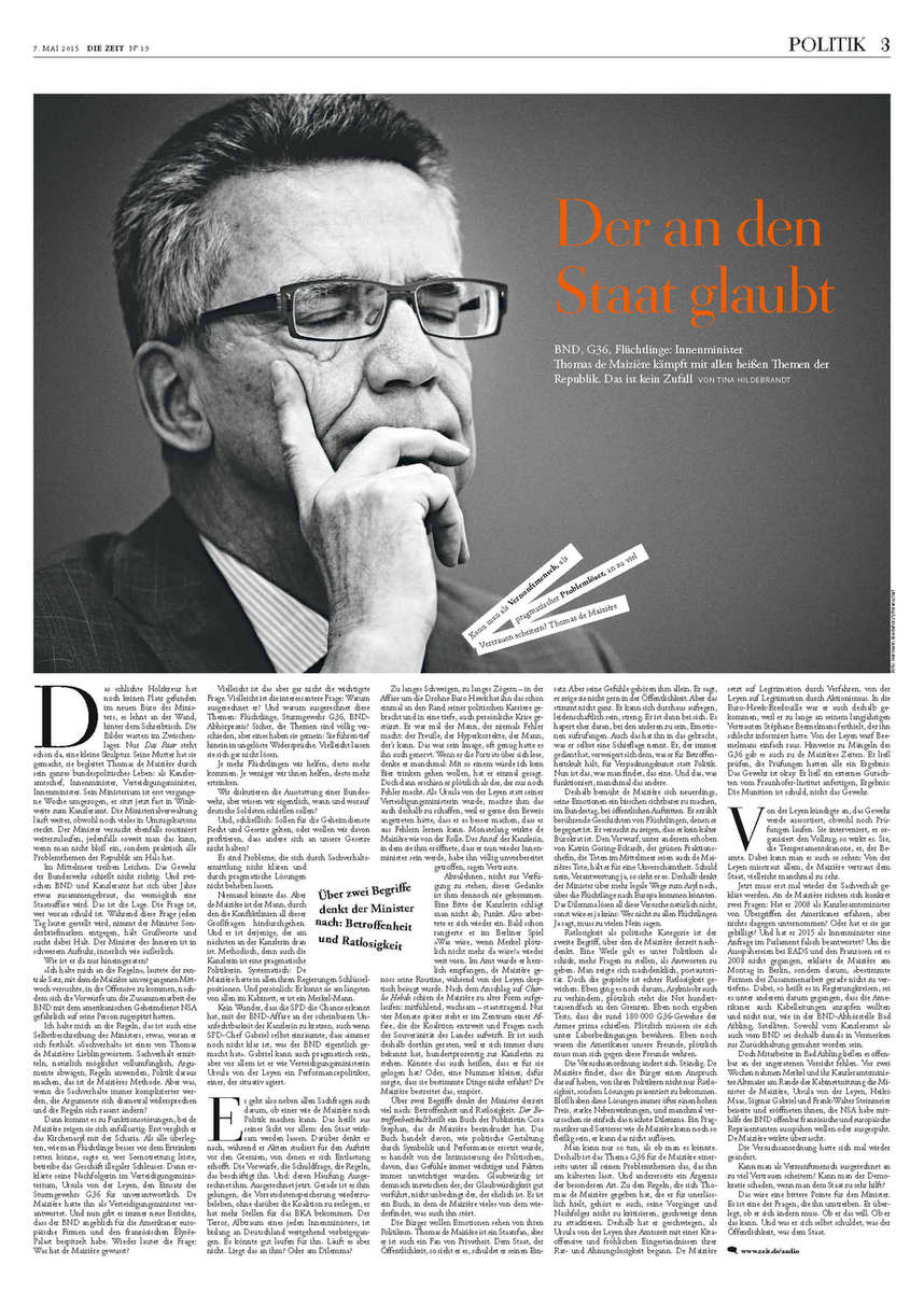Die Zeit, Germany, Thomas de Maizière, German Federal Minister of the Interior