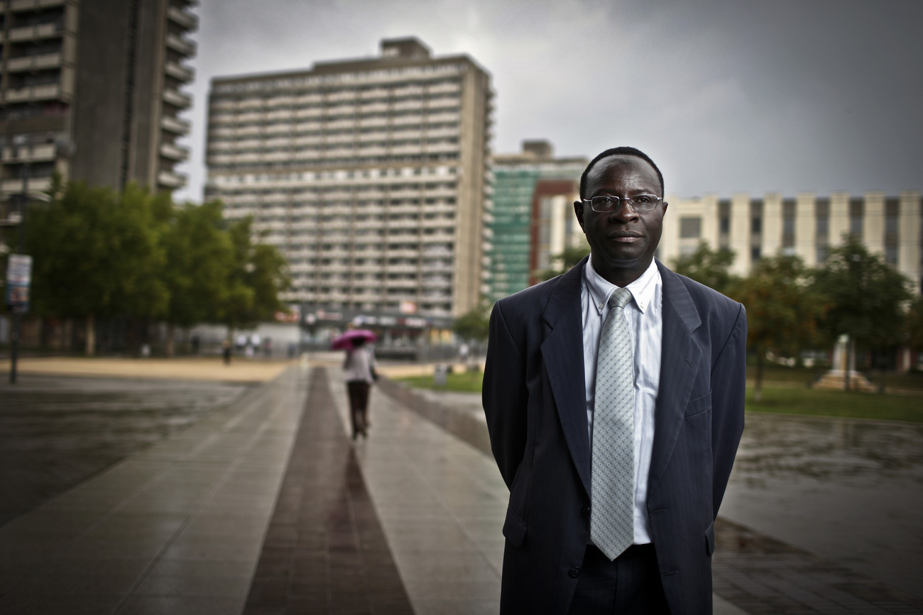Senegalese born Karambe Diaby , Social Democratic candidate for the German Parliament poses for a picture in his constituency in Halle/Saale. Diaby, a PhD in chemistry, canvassed the former hub for East Germany's chemical industry to become the first black member of the Bundestag in German history.