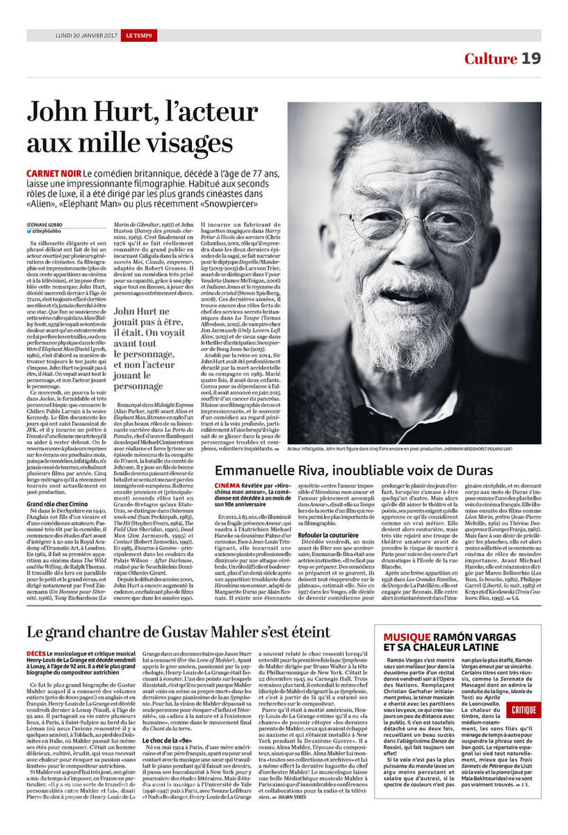 Le Temps, Switzerland, John Hurt