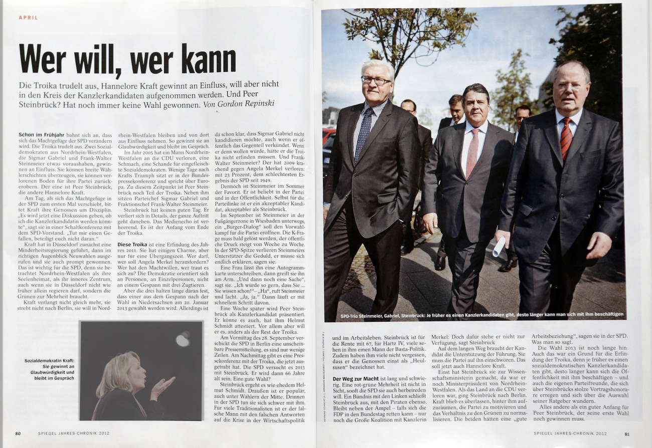 SPIEGEL Jahres-Chronik 2012, April, on German SPD Party, Dec .2012