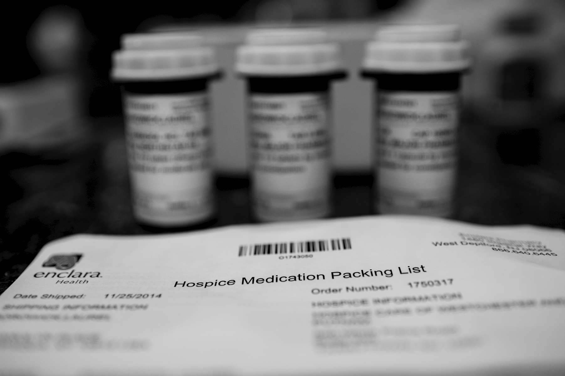 Upon signing up with Hospice, packages began to arrive with unfamiliar medications and materials. Chappaqua, NY. November, 2014.