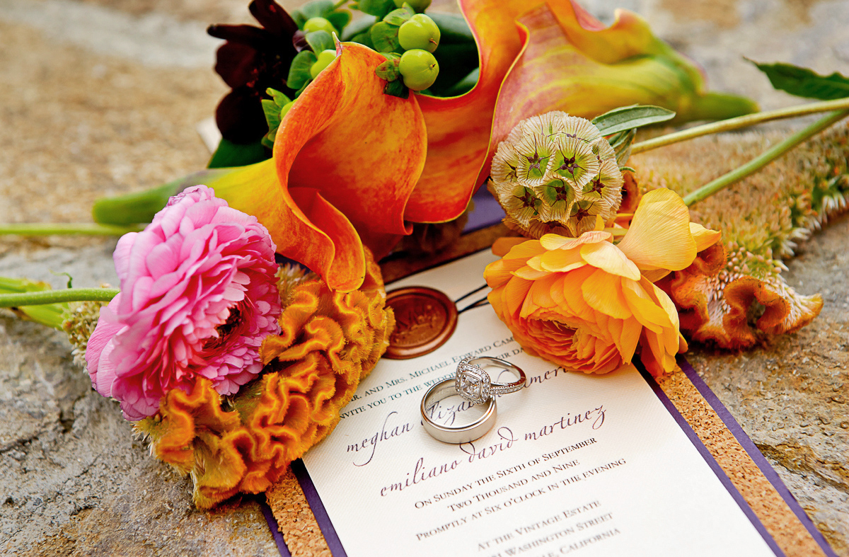 close-up-wedding-rings-on-invitation