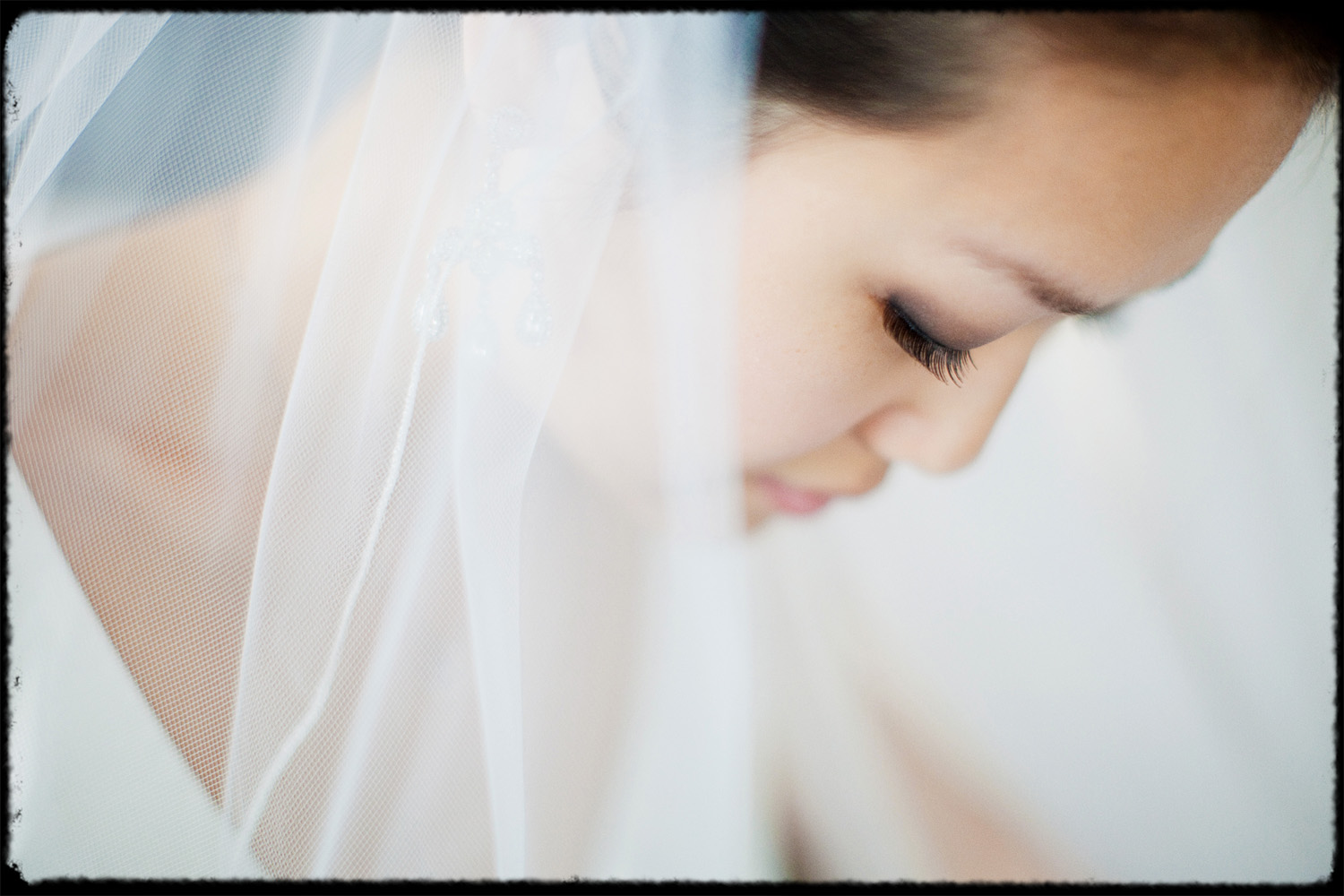 beautiful soft close up of asian bride