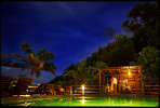 moonlit first dance by a pool in the caribbean