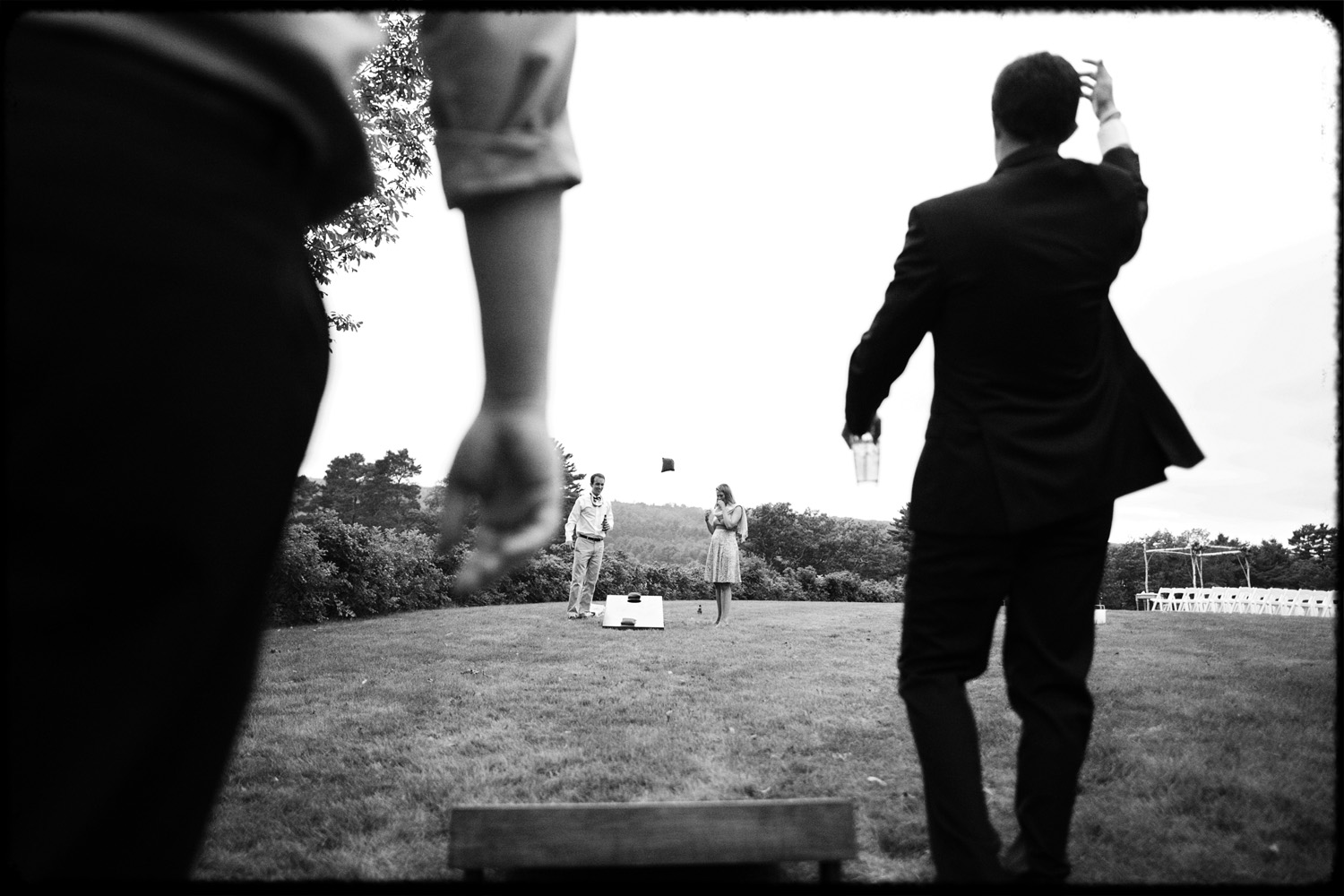 black and white wedding cornhole game