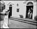 wedding couple hugs after wedding ceremony on martha's vineyard