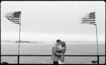 ocean_flags_engagement_beach_black_and_white
