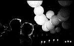 silouette wedding couple first dance with paper lanterns