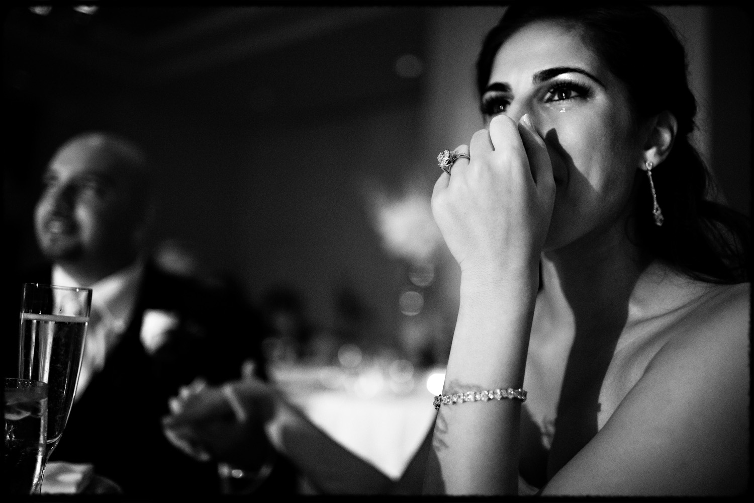 persian bride cries during wedding toasts