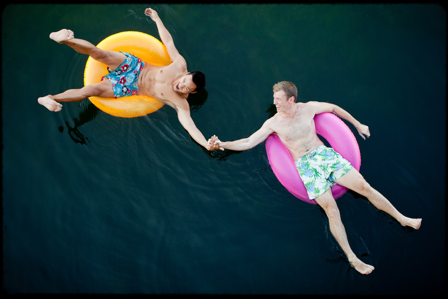provincetown_gay_engagement_session_inner_tube_river