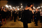 couple has first dance lit by sparklers in santa barbara