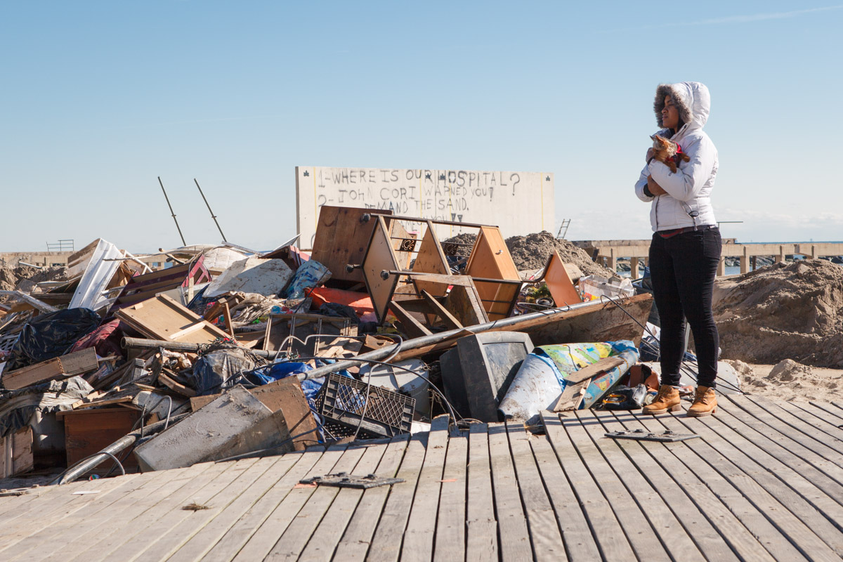 In Rockaway, Queens, a long stretch of the recently renovated boardwalk was destroyed by Hurricane Sandy, with large sections being washed across Shore Front Parkway and into the surrounding community. November 4, 2012.