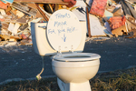 A toilet seat in Broad Channel, Queens gives thanks to Mayor Bloomberg in the wake of Hurricane Sandy. November 4, 2012.