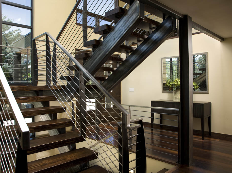 Cutom steel stair case contemporary homes mosaic for Custom staircase design