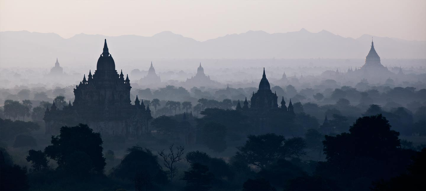 At 4 am I climbed one of the 4,000 surrounding pagodas and wait for the sun to rise. Most of them were built in the 12th century. By 10am the fog disappears, so early morning shots are the most interesting.Bagan, Burma