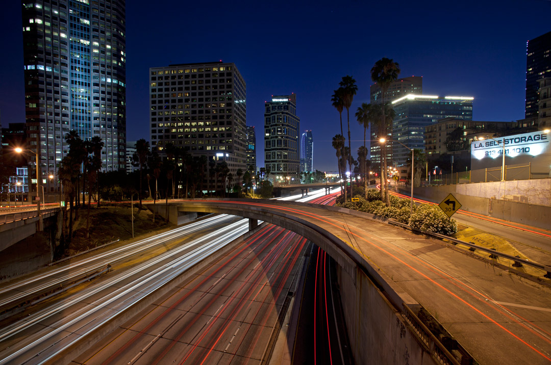 110 Freeway in the heart of Downtown - Los Angeles, CA