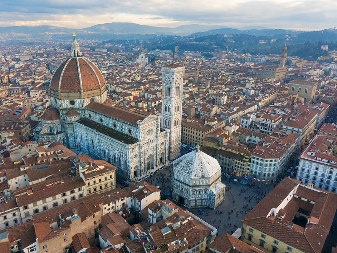 The Basilica di Santa Maria del Fiore is a cathedral in Florence. It was built in 1436. Florence - Italy