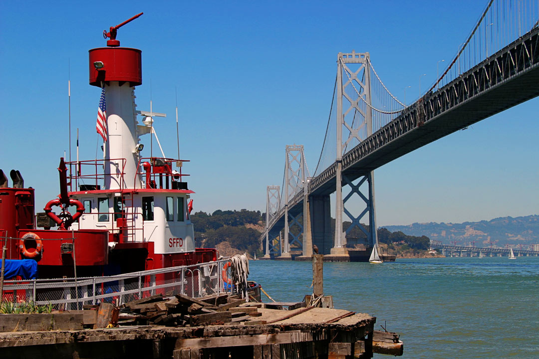 Fireboat Guardian stands on alert status near the Bay Bridge. San Francisco, CA