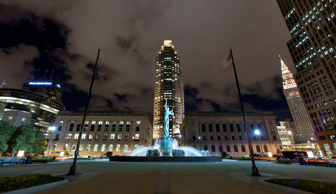 This sculpture serves as the city's major memorial to its citizens that served in World War II and the Korean War. Cleveland, Ohio