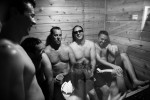 Groom and groomsmen in a sauna.