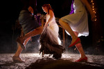 bride trashes her dress while dancing.