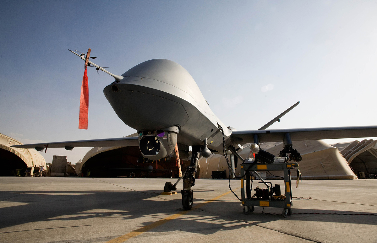 An MQ-9 Reaper stands ready and fully armed on the flight line of Kandahar Air Field with four AGM-114 Hellfire missiles, one GBU-12 Paveway II, and one GBU-38 Joint Direct Attack munitions mounted on its wings. The United States Air Force's 62nd Expeditionary Reconnaissance Squadron launches the MQ-9 Reaper Unmanned Aircraft or drone, from Kandahar Air Field. The U.S. Air Force currently fields 10 of the $13 million aircraft which can be armed with a variety of guided bombs. The Reaper is controlled by a flight team in Kandahar for take-off and landings but is controlled for most of its 12 to 13 hour missions from a base in Nevada operated by the 42nd Attack Squadron.