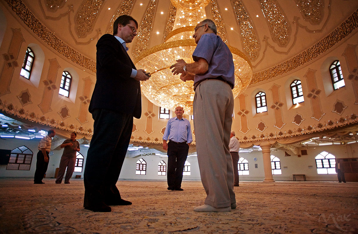 The crown jewel of the al Moosawi Mosque is this massive handmade, one and a quarter ton, crystal chandelier that was paid for and built by members of the mosque. Abdul Redha al Moosawi, right, who represents the al Moosawi Group, gives a tour to attorney, Dr. Florian Amereller, left, and General Manager Wolf-Michael Baeume of MDC, center in background, at the al Moosawi Mosque. The al Moosawi Group, a Shiite tribal congregation that has succeeded in maintaining successful businesses by staying out of politics during the ravaging civil war in Iraq following the U.S.-led invasion, represents 16 different businesses that include a hospital, real estate, and oil services companies. German attorney, Dr. Florian Amereller, and experienced General Manager Wolf-Michael Baeume are partners with Iraqi businessman Johny Paulus in the MDC Iraq Development Company GmbH. The newly minted partnership is the one of the first forays back into Iraq's business market after the U.S.-led war in Iraq. The company is working with the German government's liaison office for Industry and Commerce who operates out of a room in MDC's office. The focus of the business is on serving the oil and gas, electricity, water, medical and construction needs of Iraq with high quality German products and experience.