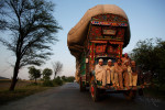 Agricultural laborers hitch a ride on the front bumper of a truck loaded with wheat as it drives through the rural village of Nizampure Kahi on Wednesday May 1, 2013. The national election campaigns coincide with the harvest season which is a major source of income for most of Pakistan's rural population.