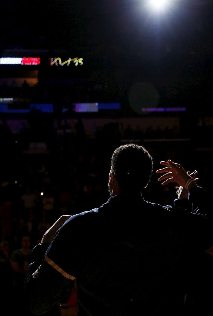 New Orleans Pelicans forward Anthony Davis gets a high five from teammate as he was welcomed onto the court before an NBA basketball game against the Oklahoma City Thunder in New Orleans, Wednesday, Jan. 25, 2017. (AP Photo/Max Becherer)